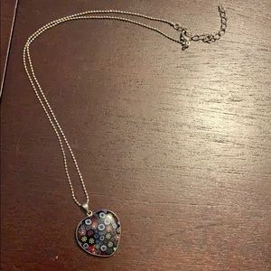 Blue flowered heart necklace